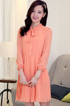 3/4 Sleeve Chiffon Shirt Dress