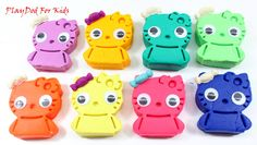Play and Learn Colours with Play Doh Hello Kitty and Animals Molds Fun &...