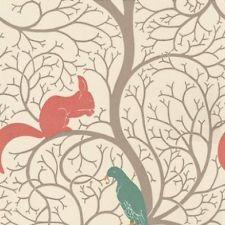 Teal Red DVIWSQ102 Squirrel & Dove Vintage Sanderson Wallpaper