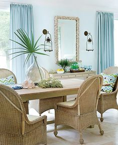 Would LOVE the wicker chairs and natural elements found in this gorgeous room. via House of Turquoise: Phoebe Howard