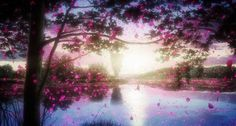 ☆**this is an animated gif~ please click to see the animation!**☆ from 'Shinsekai Yori' ♥ beautiful anime scenery, serene lake reflecting sunlight, trees in nature with falling flower petals, lovely anime nature scenery gif