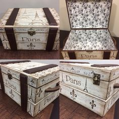 Idea for redoing the living room coffee table? Vintage Trunks, Vintage Suitcases, Decoupage Box, Decoupage Vintage, Diy Arts And Crafts, Wood Crafts, Furniture Makeover, Diy Furniture, Trunks And Chests