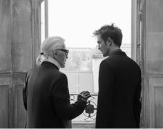 BTS Picture Of Robert Pattinson & Karl Lagerfeld During Dior Homme Apparel Spring Campaign Photoshoot #DiorRob