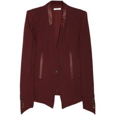 Helmut Lang Leather-trimmed woven blazer ($670) ❤ liked on Polyvore