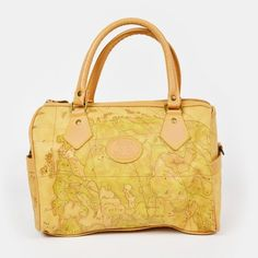 vtg 80s 90s ALLAN EDWARD ae ANTIQUE WORLD MAP print faux LEATHER HAND BAG purse $48.00