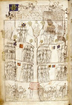 This copy of L'Arbre des batailles was probably made for the famous bibliophile, John, Duke of Berry. It is unclear in what circumstances the manuscript arrived to England. In the early 16th century it belonged to a certain John Gamston and subsequently to Henry Parker, 10th baron Morley. The manuscript entered the Lumley library through the collector's assistant and brother-in-law Hunphrey Lloyd and bears his ex-libris: 'Sum Humfredi Lloyde' (f. 2) The diagram called 'arbre de dueil'…