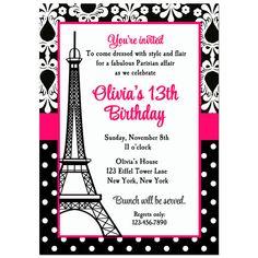 Paris Invitation Printable or Printed with FREE por ThatPartyChick