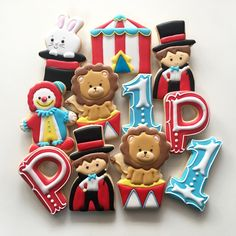 Circus Cookies By Vanilla Cookies Carnival Themed Party, Carnival Birthday Parties, Circus Party, Circus Wedding, Cookies For Kids, Fancy Cookies, Cute Cookies, Carnival Decorations, Kids Carnival