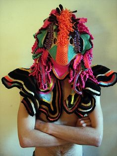 Crazy bird Crochet Cthulhu Mask by Aldo Lanzini