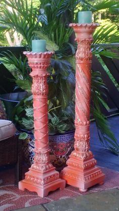 Huge Antique candle sticks from an old church... Hand painted and hand gold gilded... originally alter taper candle holders, now re-purposed for use with pillar candles or jar candles.. still availble-$250