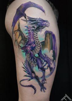 Watercolor Dragon Tattoo, Dragon Tattoo Shoulder, Dragon Tattoo Back, Celtic Dragon Tattoos, Dragon Tattoos For Men, Chinese Dragon Tattoos, Dragon Sleeve Tattoos, Tattoos Skull, Dragon Tattoo Designs
