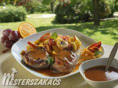 Narancsmázas bélszín vajon párolt gyümölcsökkel recept Ketchup, French Toast, Bacon, Dishes, Breakfast, Desk, Food, Crickets, Morning Coffee