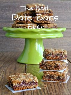 On special days have a wonderful dessert for after the family meal. The Best Date Bars Ever are two layers of a delectable oatmeal crust that are filled with a sweet date mixture then baked to vanilla/almond scented treat. Vegan Treats, Vegan Snacks, Vegan Desserts, Vegan Recipes, Dessert Recipes, Cooking Recipes, Bar Recipes, Recipes With Dates Healthy, Desserts With Dates