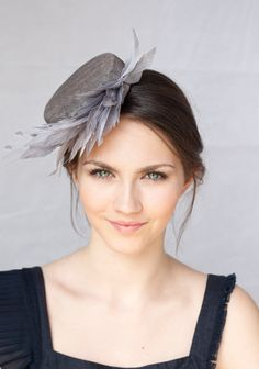 Millinery Hat with feather spray, Special Occasion Headpiece, Grey Sinamay Hat, Bridesmaid Fascinator