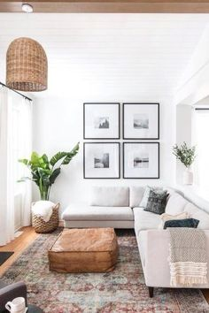I think there would be a lot of weight on the right side of the room with the table, but the light and the plant balance it out really well. #homedecor #homeideas #livingroominspo