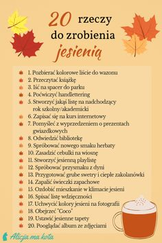 Lista rzeczy do zrobienia jesienią - Co robić jesienią? Jak celebrować wrzesień, październik i listopad? #jesień #lista #pomysły Day Plan, Organize Your Life, Fall Diy, Bullet Journal Inspiration, Life Organization, Book Of Life, Life Hacks, Life Tips, Better Life