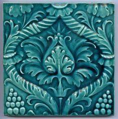 Art Nouveau Majolica - CYAN FLOWERS - 1900 - Ceramic Tile