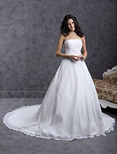 Ball Gown Strapless Cathedral Train Chiffon Over Satin Weddi... – USD $ 127.99