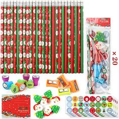 Amazon.com : Cocoboo 20 Set Christmas Holiday Pencil with Eraser Toppers for Writing and Drawing, Christmas Gift Party Favors Prize for Kids with Seals, Stickers and Pencil Sharpener : Office Products Educational Christmas Gifts, Gifted Education, Pencil Sharpener, Student Gifts, Seals, Christmas Holidays, Party Favors, Students, Stickers