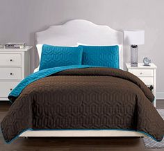 Searching bedroom decorating inspiration... Coverlet Set-SALE-3-Piece Bedspread-Super Soft-HIGHEST QUALITY Brushed Microfiber reversible Quilt-Great Gift Idea (King / Cal King – Teal Blue, Brown)  http://aluxurybed.com/product/coverlet-set-sale-3-piece-bedspread-super-soft-highest-quality-brushed-microfiber-reversible-quilt-great-gift-idea-king-cal-king-teal-blue-brown/