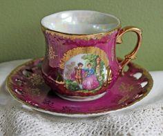 Porcelain Demitasse Tea Cup with Saucer