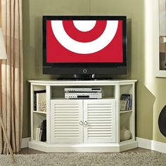 Shuttered Door Corner TV Stand