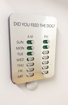 This is a shizzlin' idea! Did You Feed The Dog? #ad #DYFTD Solution #dogs http://www.didyoufeedthedog.co/store/c1/Featured_Products.html