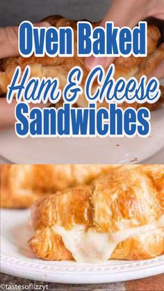 Store-bought croissants make these Hot Ham and Swiss Croissants an easy weeknight dinner with an elegant twist. The dijon honey sauce will make this sandwich melt in your mouth. Croissant Breakfast Sandwich, Ham And Cheese Croissant, Grilled Ham And Cheese, Ham Breakfast, Easy Croissant Recipe, Homemade Croissants, Homemade Ham, Homemade Sandwich, Homemade Breads