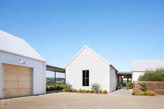 Exterior of modern design farmhouse in Sonoma, California