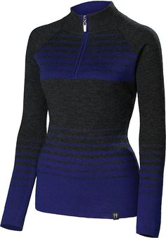 Hailey:Cobalt ~Zip down the mountain in this modern sport-style sweater made of 100% ultra-fine merino.  The Hailey quarter zip-neck sweater is light in weight but provides un-paralleled  warmth and performance.