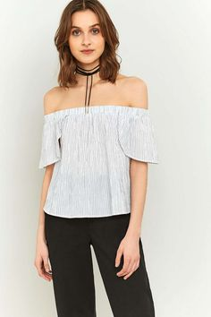 Urban Outfitters Striped Bardot Off-The-Shoulder Top