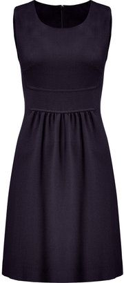 Goat Navy Pleated Wool Crepe Dress--dark print is always a winner, but the fitted bust with the slightly flared skirt, gives an hourglass shape while hiding hips!  Also minimizes a bigger bust.