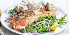Creamy dill and potato salad is the perfect accompaniment to this delicious salmon fillet.
