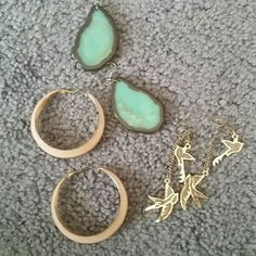 Boho style earrings Forever 21 set of three pairs Forever 21 Jewelry Earrings