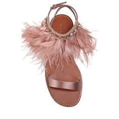 Miu Miu Feather-Trimmed Embellished Satin Flat Sandal (£675) ❤ liked on Polyvore featuring shoes, sandals, embellished flat sandals, strappy sandals, miu miu shoes, swarovski crystal sandals and ankle strap sandals