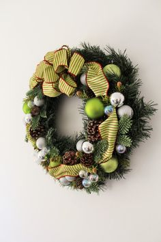 Christmas Wreath with Green/Red Ribbon 18 by Aloha4649 on Etsy