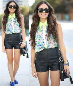 Neon, floral, and leather (by Daniela Ramirez) http://lookbook.nu/look/4497975-Neon-floral-and-leather
