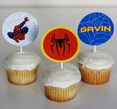 Printable Spiderman Cupcake Toppers- Spiderman Superhero