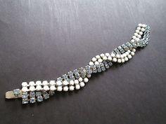 Vintage Milk Glass and Rhinestone Braided Bracelet by RetroShinies, $45.00