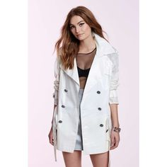 Vintage Chanel e�milie Perforated Trench Coat ($1,750) ❤ liked on Polyvore featuring outerwear, coats, double breasted blazer, white double breasted coat, sheer blazer, double breasted coat and blazer coat