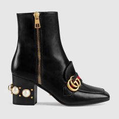 Leather mid-heel ankle boot