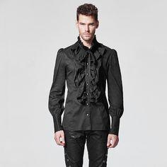 2017 Noble Palace Gothic Ruffles Fashion Black Men Shirt