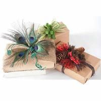 Peacock feathers, pinecones, raffia, craft paper -- embellish your this season . very pretty but I never seem to even have time to put bows on my boxes LOL All Things Christmas, Christmas Holidays, Christmas Decorations, Xmas, Christmas Carol, Holiday Decorating, Happy Holidays, Peacock Christmas, Woodland Christmas