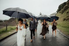 Who cares about the rain! Rose and her Bridesmaids rocking it. Photography by Hollow & Co. Brides And Bridesmaids, Bridesmaid Dresses, Bohemian Bridesmaid, Resort Wear, Real Weddings, Leaves, Couples, Rose, Photography
