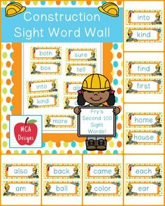My Construction sight word wall posters feature Fry's second 100 words. 55 pages of sight words accented with bright colors and construction themed graphics!  #mca3designs #tpt #teacherspayteachers #classroomtheme #sightwords #wordwall #reading #ela