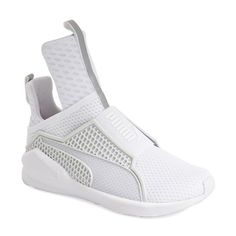 PUMA by Rihanna 'Fenty' Trainer ($180) ❤ liked on Polyvore featuring shoes, sneakers, white, slip-on shoes, white slip on shoes, pointed-toe sneakers, training sneakers and puma shoes