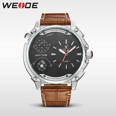 28367a177a4 Hot Sale Business men Quartz Wrist Watch Three Eyes Leather Watch Retro  Design Relogio Masculino multitemporal