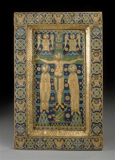 Christ's Majesty, Crucifixion Limoges, 1st quarter of the 13th century  Copper champlevé, enamelled and gilded  Glass beads in the centre, enamels  Cl 971 a and b