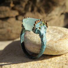 Raw aquamarine ring  Copper electroformed raw aquamarine ring