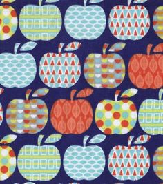 Snuggle Flannel Fabric- Pattern Apples
